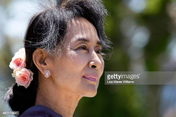 Nobel Peace Laureate and Myanmar opposition leader Aung San Suu Kyi walks in the gardens of Government House during a meeting with NSW Governor Marie...