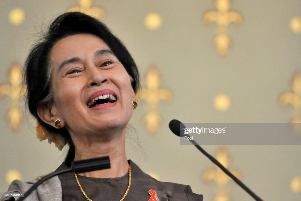 Nobel Peace Laureate and Myanmar opposition leader Aung San Suu Kyi speaks at the launch of the AIDS 2014 world conference to be hosted in Australia next year on World AIDS day on December 1, 2013 in Melbourne, Australia. Aung San Suu Kyi is in Australia for five days to discuss democratic reform in Myanmar.