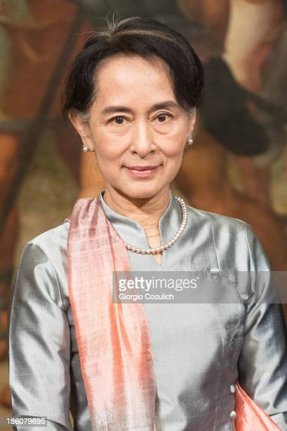 Nobel Peace Laureate Aung San Suu Kyi attends a meeting with Italian Prime Minister Enrico Letta at Palazzo Chigi on October 28 2013 in Rome Italy...