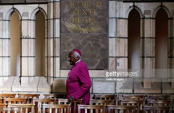 Nobel peace laureate Desmond Tutu attends a media briefing on July 22 2010 in Cape Town South Africa Tutu announced that he intends to bow out of...