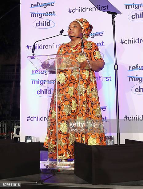 Nobel Peace Laureate Leymah Gbowee speaks onstage during US Fund for UNICEF as it calls on world leaders to put children first during a candlelight...