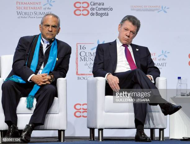 Nobel Peace laureates Colombian President Juan Manuel Santos and former Timor-Leste president Jose Ramos-Horta attend the opening ceremony of the...