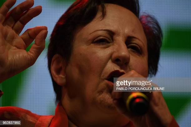 Nobel peace prize awarded Irani Shirin Ebadi speaks during an event for peace organized by the Foundation for International Democracy called Voy por...