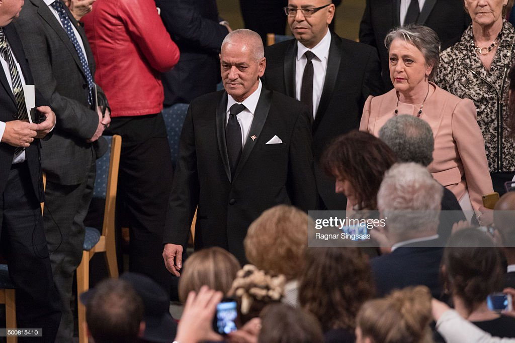 Nobel Peace Prize Laureate 2015 Houcine Abbassi of the 'Tunisian National Dialogue Quartet' arrives to the Nobel Peace Prize ceremony at Oslo City Town Hall on December 10, 2015 in Oslo, Norway.