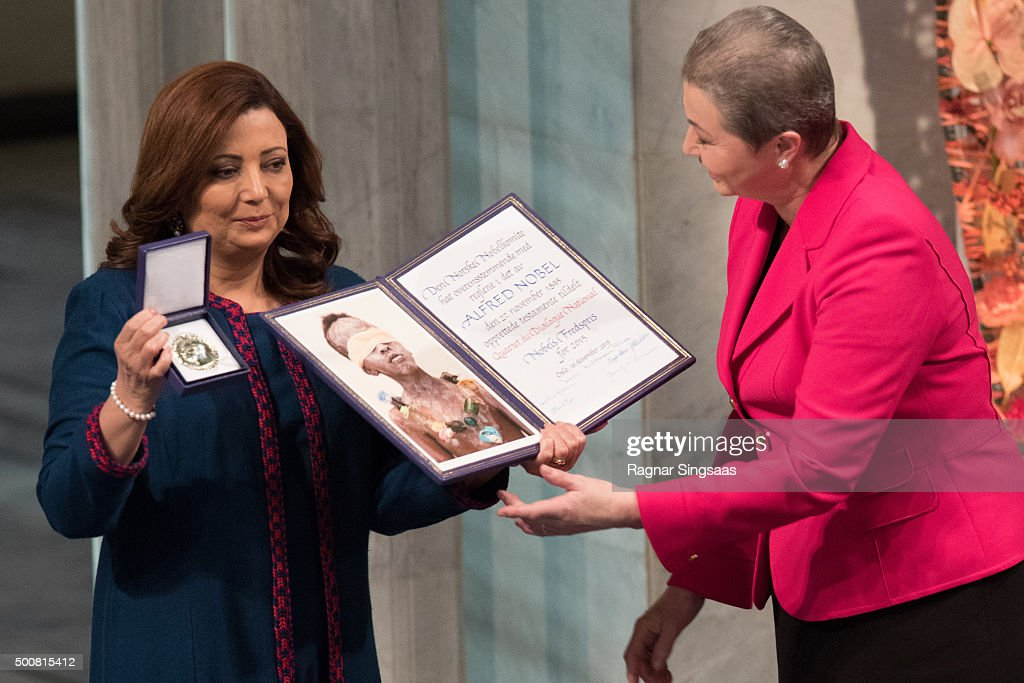 Nobel Peace Prize Laureate 2015 Wided Bouchamaoui of the 'Tunisian National Dialogue Quartet' receives the Nobel Peace Prize during the Nobel Peace Prize ceremony at Oslo City Town Hall on December 10, 2015 in Oslo, Norway.
