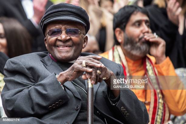 Nobel Peace Prize laureate and South African icon Archbishop Desmond Tutu attends the unveiling ceremony of the Arch for the Arch monument as part of...