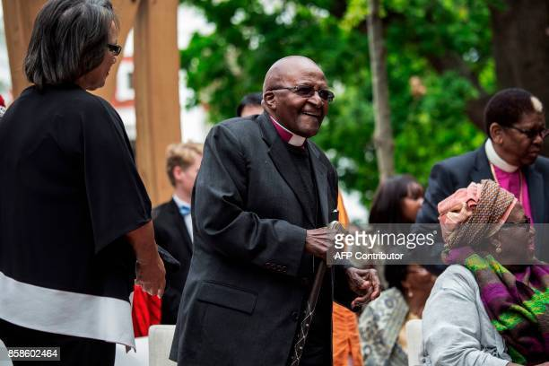 Nobel Peace Prize laureate and South African icon Archbishop Desmond Tutu attends the unveiling ceremony of the 'Arch for the Arch' as part of his...