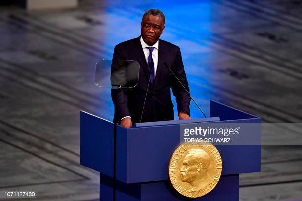 Nobel Peace Prize laureate Congolese doctor Denis Mukwege gives his lecture after accepting his prize during the Nobel Peace Prize ceremony 2018 on...