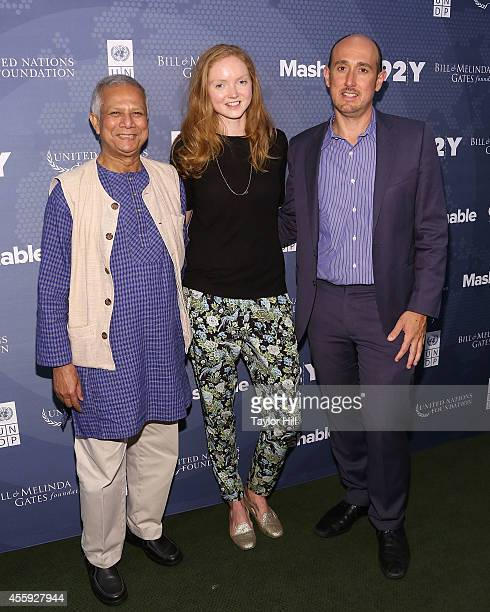 Nobel Peace Prize laureate Dr Muhammad Yunus supermodel Lily Cole and Forbes editor Randall Lane attends the 2014 Social Good Summit at 92Y on...