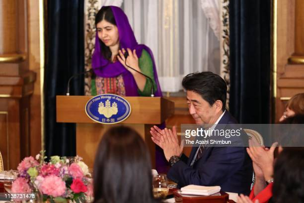 Nobel Peace Prize laureate Malala Yousafzai addresses during the dinner inviting attendees of the WAW! /W20 women's empowerment conference at the...