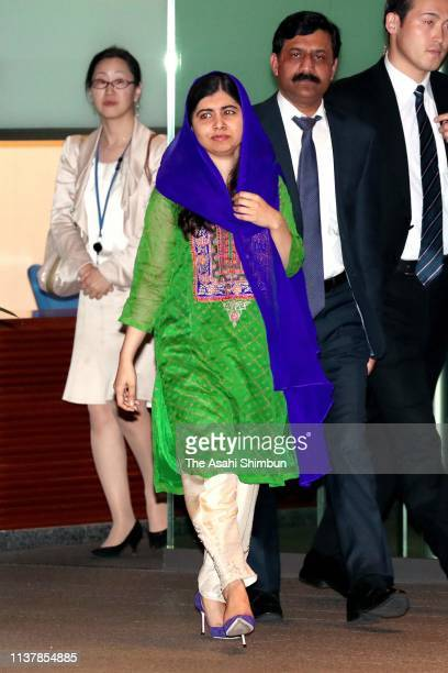 Nobel Peace Prize laureate Malala Yousafzai is seen on arrival prior to the meeting with Japanese Prime Minister Shinzo Abe at the prime minister's...