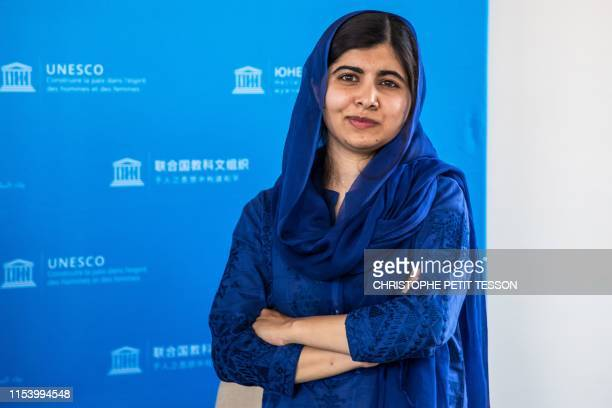 Nobel Peace Prize laureate Malala Yousafzai poses for photo session during the G7 Development and Education Ministers Meeting, in Paris, on July 5,...