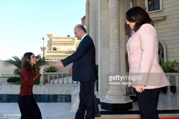 Nobel Peace Prize Laureate Nadia Murad meets with Iraqi President Barham Salih at AsSalam Presidential Palace in Baghdad Iraq on December 12 2018