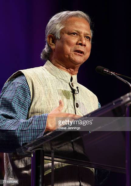Nobel Peace Prize Laureate Professor Muhammad Yunus speaks during the Women's Conference 2007 held at the Long Beach Convention Center on October 23...