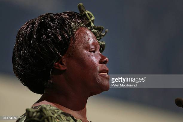 Nobel Peace Prize Laureate Professor Wangari Maathai speaks to delegates at the UN Climate Change Conference on December 15 2009 in Copenhagen...