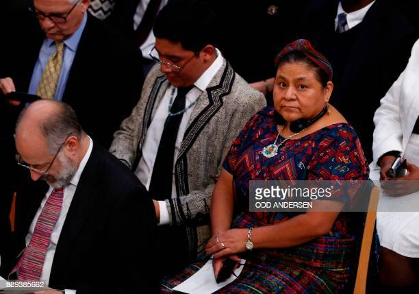 Nobel Peace Prize laureate Rigoberta Menchu attends the award ceremony of the 2017 Nobel Peace Prize at the city hall in Oslo Norway on December 10...