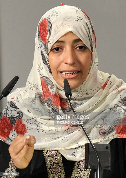 Nobel Peace Prize Laureate Tawakkul Karman gives a speech during the 48th Munich Security Conference at the Bayerischer Hof hotel in Munich southern...