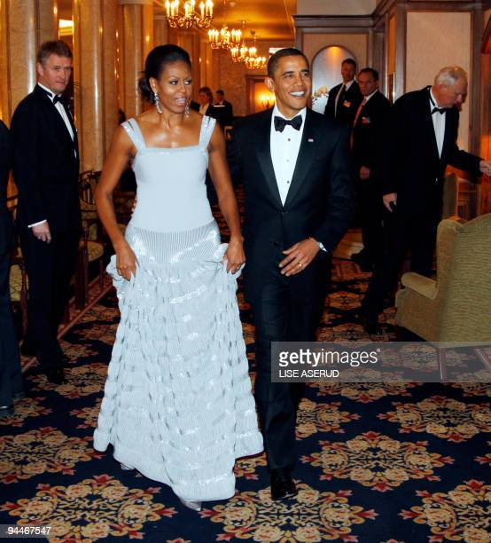Nobel peace prize laureate US President Barack Obama and First Lady Michelle Obama arrive to the Nobel Banquet in Oslo on December 10 2009 US...