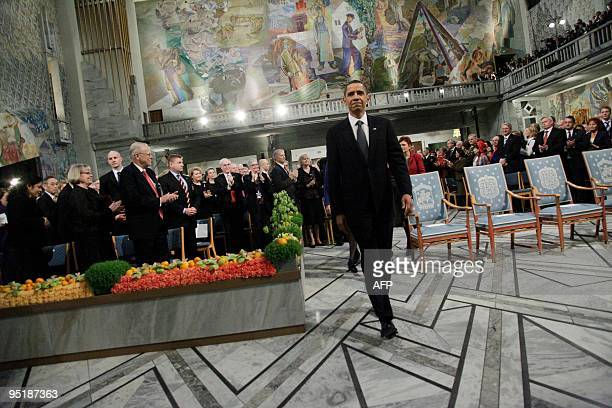 Nobel Peace Prize laureate US President Barack Obama arrives for the Nobel Peace prize award ceremony at the City Hall in Oslo on December 10 2009...