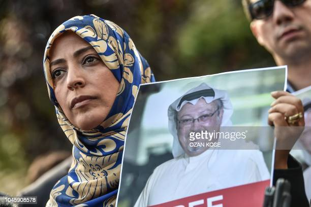 Nobel Peace Prize laureate Yemeni Tawakkol Karman holds a picture of missing journalist Jamal Khashoggi during a demonstration in front of the Saudi...