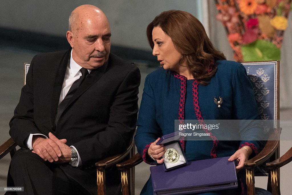 Nobel Peace Prize Laureates 2015 Abdessattar Ben Moussa and Wided Bouchamaoui react during the Nobel Peace Prize ceremony at Oslo City Town Hall on December 10, 2015 in Oslo, Norway.