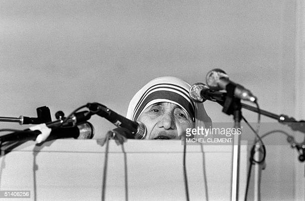 Nobel Peace Prize Mother Teresa speaks to the audience during the first day of the International colloquy called 'Liberties and Human rights' at the...