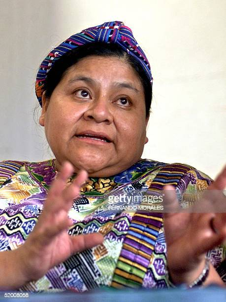 Nobel Peace Prize recipient Rigoberta Menchu answers questions during a press conference in Guatemala City 15 July 2002 Menchu made reference to a...