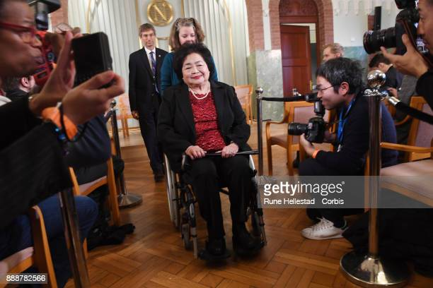 Nobel Peace Prize recipients International Campaign To Abolish Nuclear Weapons represented by Setsuko Thurlow attends a press conference at the Nobel...