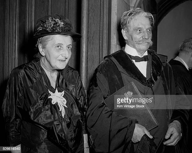 Nobel Peace Prize winner Albert Schweitzer and his wife Helene arrive commencement exercises at the University of Chicago where he received an...