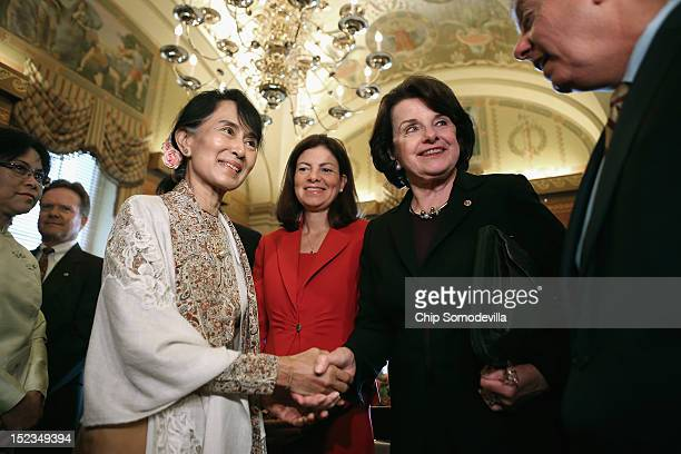 Nobel Peace Prize winner and Burmese prodemocracy opposition leader Aung San Suu Kyi meets with Sen Kelly Ayotte Sen Dianne Feinstein and Sen Lindsey...