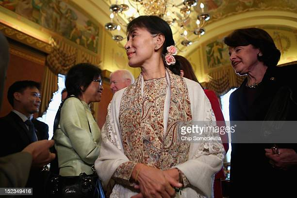 Nobel Peace Prize winner and Burmese prodemocracy opposition leader Aung San Suu Kyi meets with members of the US Senate leadership at the US Capitol...