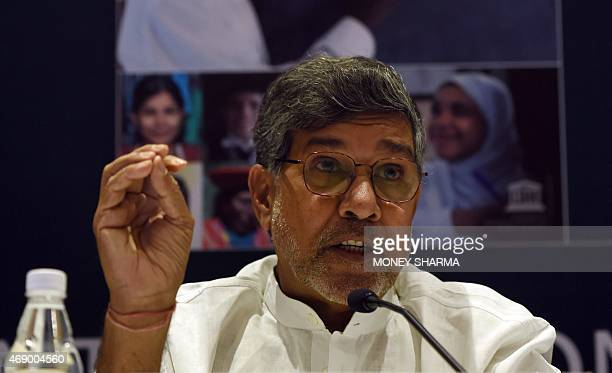 Nobel Peace prize winner and Chairperson of Global March against Child Labour Kailash Satyarthi speaks during a press conference in New Delhi on...