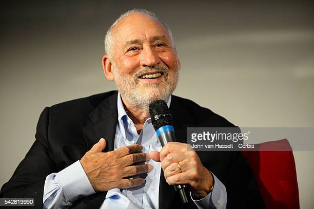 Nobel Peace Prize winner and economist Joseph E Stiglitz speaks at the French business school ESCP EUROPE to promote his new book The Great Divide...