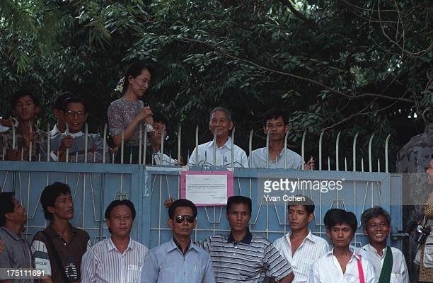 Nobel Peace Prize winner and leading Burmese dissident Aung San Suu Kyi speaks to crowds of supporters shortly after her release from house arrest in...