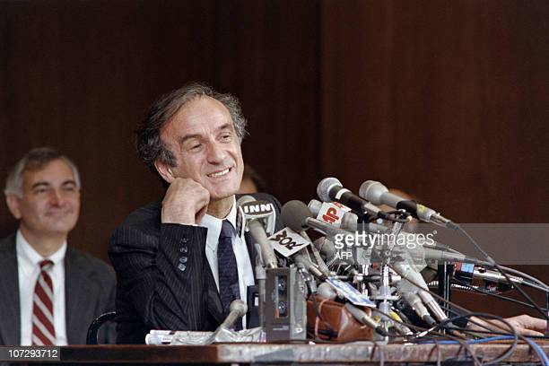 Nobel Peace prize winner and writer Elie Wiesel speaks at his first press conference at the 92nd street YMYWCA on October 14 upon learning of his...
