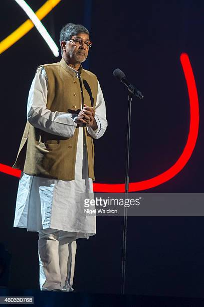 Nobel Peace Prize winner Kailash Satyarthi of India speaks to the audience during the Nobel Peace Prize concert at Oslo Spektrum on December 11 2014...