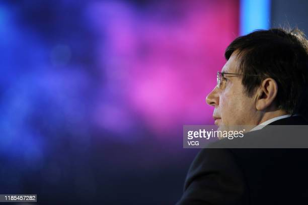 Nobel Physics laureate Andre Geim reacts during 2019 China Science Fiction Convention at Beijing Garden Expo Park on November 3, 2019 in Beijing,...
