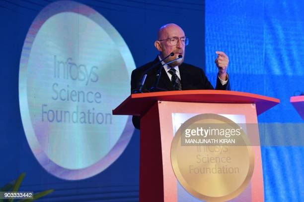 Nobel Prize 2017 Laureate in Theoretical Physics Prof Kip Thorne addresses a gathering during the Infosys Prize 2017 event in Bangalore on January 10...