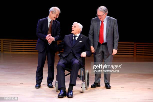 Nobel Prize Chemistry Laureates Akira Yoshino John B Goodenough and M Stanley Whittingham pose after their Nobel Lectures at Stockholms University in...