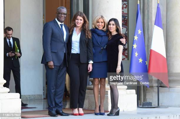 Nobel Prize Denis Mukwege, Marlene Schiappa, Brigitte Macron and Nobel Prize Nadia Murad attend the first meeting G7 Advisory Committee For Equality...