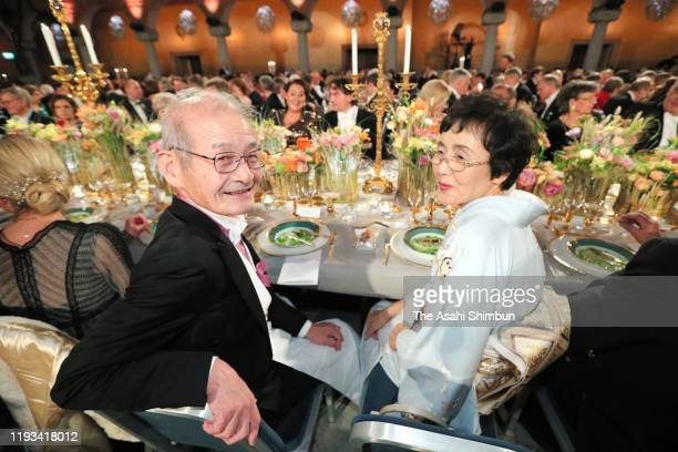 Nobel Prize in Chemistry laureate Akira Yoshino and his wife Kumiko attend the Nobel Prize Banquet 2019 at the City Hall on December 10, 2019 in...