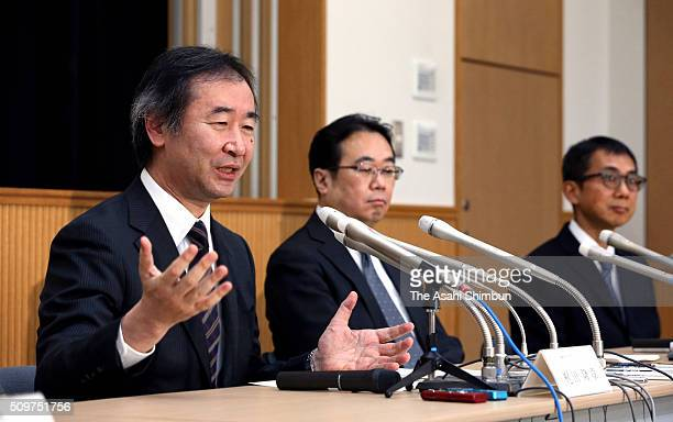 Nobel Prize in Physics in 2015 and director of the Institute for Cosmic Ray Research , University of Tokyo Takaaki Kajita speaks during a press...