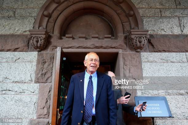 Nobel Prize in Physics winner James Peebles attends a press conference at Princeton University on October 8 2019 in Princeton New Jersey...