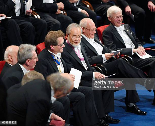 Nobel Prize in Physiology or Medicine laureate Yoshinori Ohsumi is seen during the Nobel Prize Awards Ceremony at Concert Hall on December 10 2016 in...