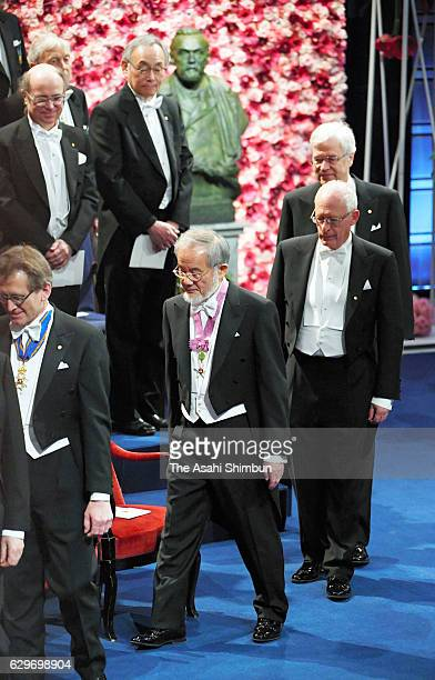 Nobel Prize in Physiology or Medicine Yoshinori Ohsumi enters the hall to attend the Nobel Prize Awards Ceremony at Concert Hall on December 10 2016...