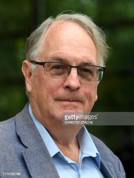 Nobel Prize Laureate in Chemistry British Stanley Whittingham is pictured in Ulm southern Germany on October 9 2019 during an International Battery...