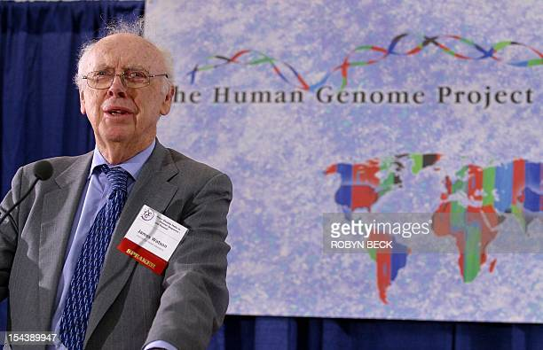 Nobel Prize laureate James D Watson speaks at a press conference to announce that a sixcountry consortium has successfully drawn up a complete map of...