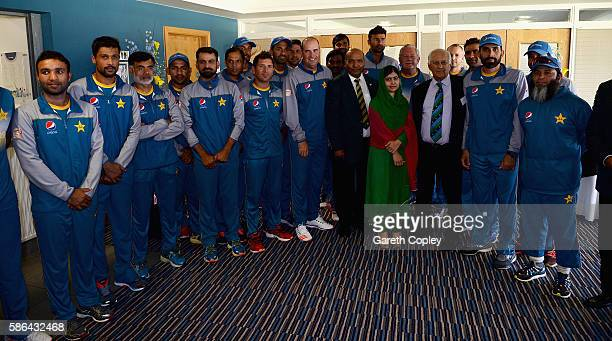 Nobel Prize laureate Malala Yousafzai meets the Pakistan cricket team after play on day four of the 3rd Investec Test between England and Pakistan at...