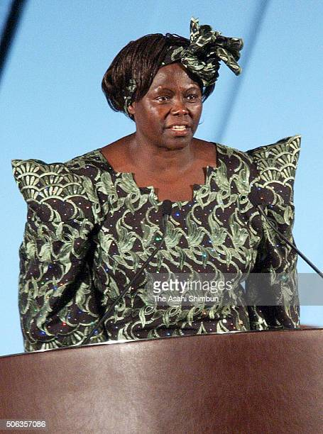Nobel Prize laureate Wangari Maathai addresses in the ceremony to mark the Kyoto Protocol enters into force at the Kyoto International Conference...