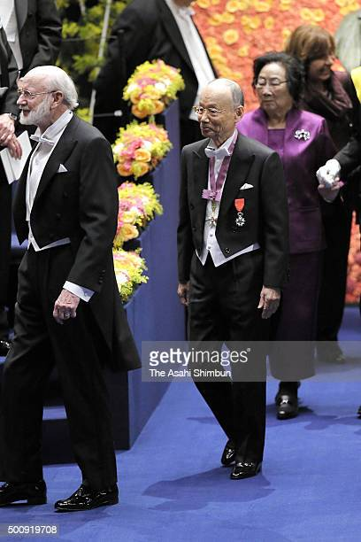Nobel Prize laureates in Physiology or Medicine William C Campbell Satoshi Omura and Tu Youyou enter during the Nobel Prize Awards Ceremony at...